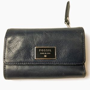 Fossil Leather Wallet Card Holder Navy Silver